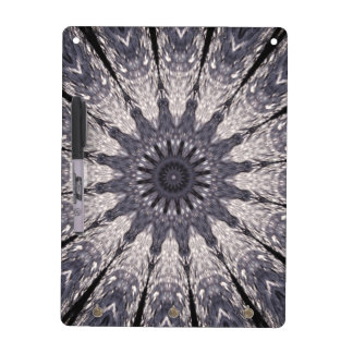 Kaleidoscope Flower Shades of Blue and Grey Dry Erase Board