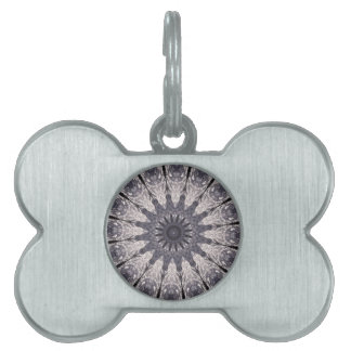 Kaleidoscope Flower Shades of Blue and Grey Pet ID Tags