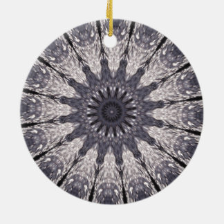 Kaleidoscope Flower Shades of Blue and Grey Round Ceramic Ornament