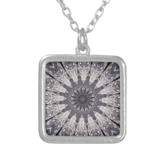 Kaleidoscope Flower Shades of Blue and Grey Silver Plated Necklace