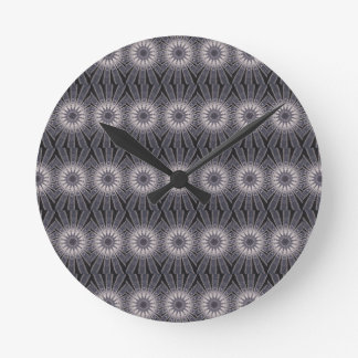 Kaleidoscope Flower Shades of Blue and Grey Wall Clock