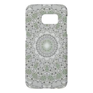Kaleidoscope Fractal Mandala - grey green Samsung Galaxy S7 Case