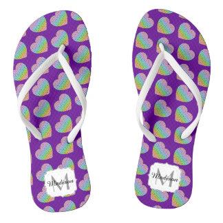 Kaleidoscope honeycomb pattern Heart Purple Flip Flops