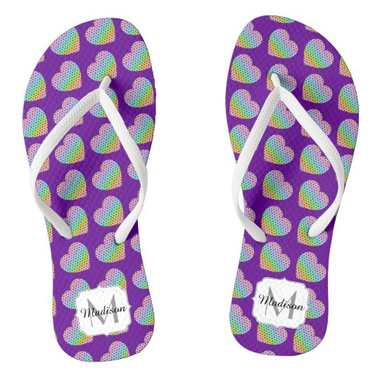 Kaleidoscope honeycomb pattern Heart Purple Flip Flops