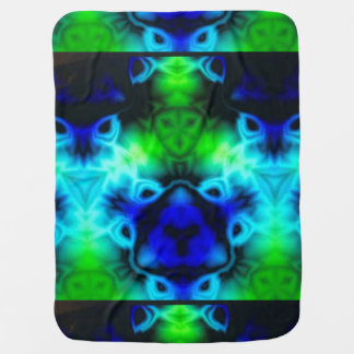 Kaleidoscope image with blues and gree baby blanket