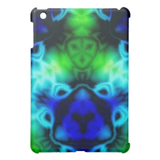 Kaleidoscope image with blues and gree cover for the iPad mini