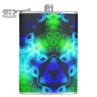 Kaleidoscope image with blues and gree hip flask