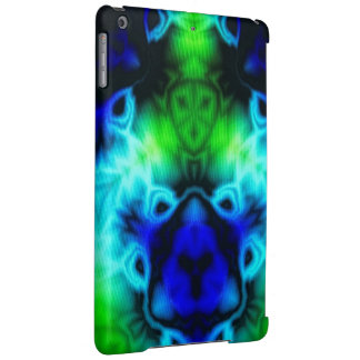 Kaleidoscope image with blues and gree iPad air case