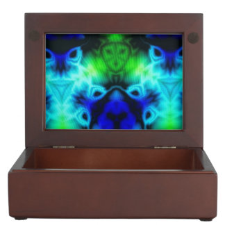 Kaleidoscope image with blues and gree keepsake box