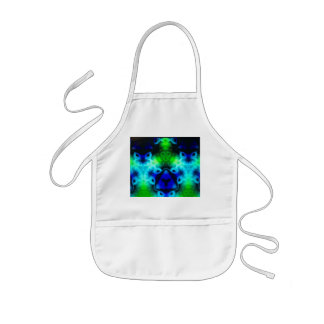 Kaleidoscope image with blues and gree kids apron