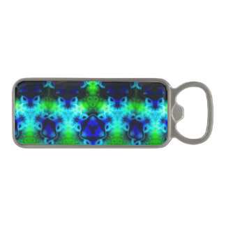 Kaleidoscope image with blues and gree magnetic bottle opener