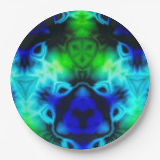 Kaleidoscope image with blues and gree paper plate
