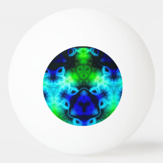 Kaleidoscope image with blues and gree ping pong ball
