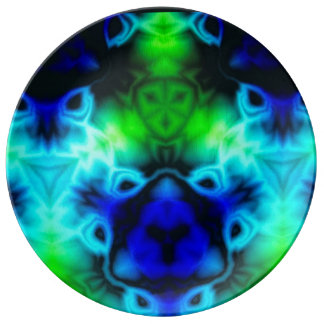 Kaleidoscope image with blues and gree plate