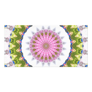Kaleidoscope In Green and Blue Picture Card