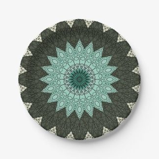 Kaleidoscope Mandala in Green and Blue 7 Inch Paper Plate