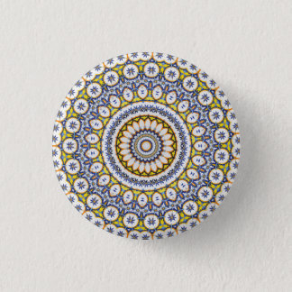 Kaleidoscope Mandala in Portugal: Pattern 224.7 1 Inch Round Button
