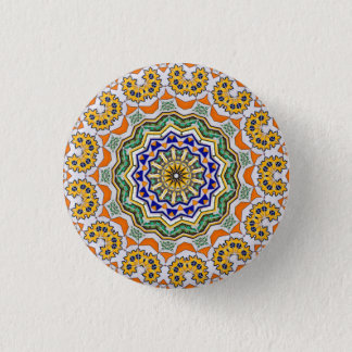 Kaleidoscope Mandala in Portugal: Pattern 232.1 1 Inch Round Button