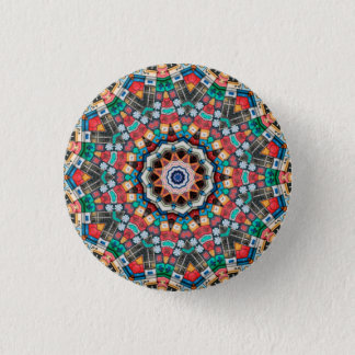 Kaleidoscope Mandala in Slovenia: Pattern 213.3 1 Inch Round Button