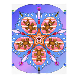 Kaleidoscope of bears and bees letterhead template