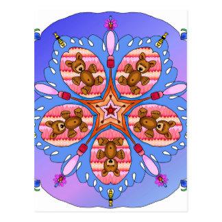 Kaleidoscope of bears and bees postcard