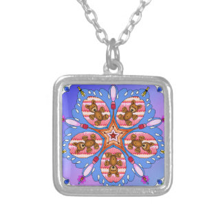 Kaleidoscope of bears and bees silver plated necklace