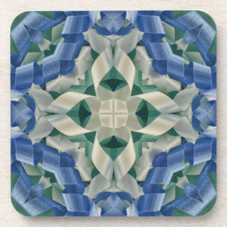 Kaleidoscope of Ribbons in Blue and White Coasters