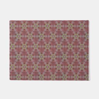 kaleidoscope pattern, pink and yellow roses doormat