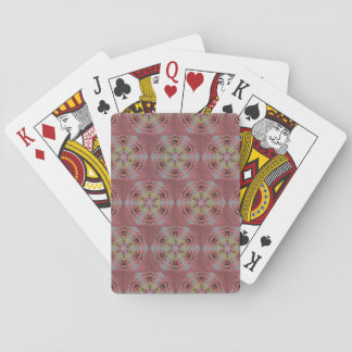 kaleidoscope pattern, pink and yellow roses playing cards