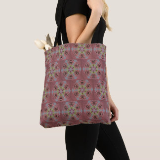kaleidoscope pattern, pink and yellow roses tote bag