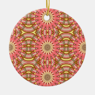 Kaleidoscope Pink Floral Pattern Ceramic Ornament