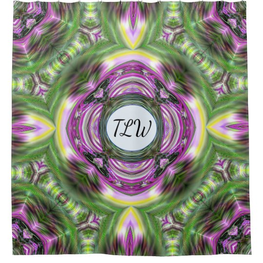 Kaleidoscope Purple and Green Monogrammed