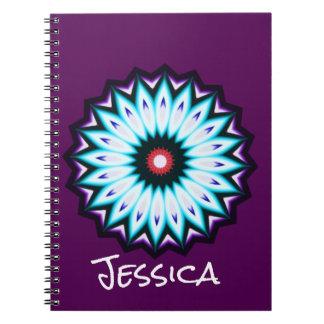 Kaleidoscope Purple Blue and Black Star Notebook