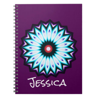 Kaleidoscope Purple Blue and Black Star Spiral Notebook