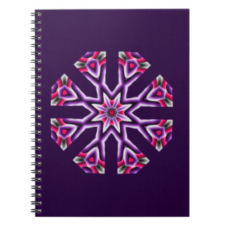 Kaleidoscope Purple Pink and Black Star Notebooks