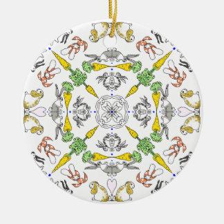 Kaleidoscope rabbits ceramic ornament