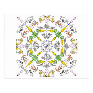 Kaleidoscope rabbits postcard