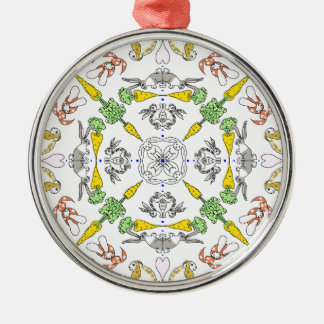 Kaleidoscope rabbits Silver-Colored round ornament