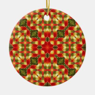 Kaleidoscope Red Hot Pokers Round Ceramic Ornament