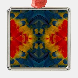Kaleidoscope Scarlet Macaw design Metal Ornament