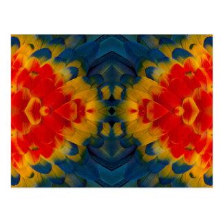 Kaleidoscope Scarlet Macaw design Postcard