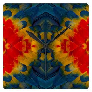Kaleidoscope Scarlet Macaw design Wallclocks