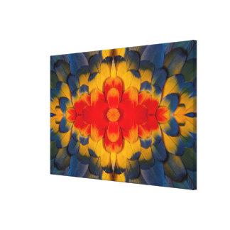 Kaleidoscope Scarlet Macaw feather Canvas Print