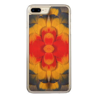 Kaleidoscope Scarlet Macaw feather Carved iPhone 7 Plus Case