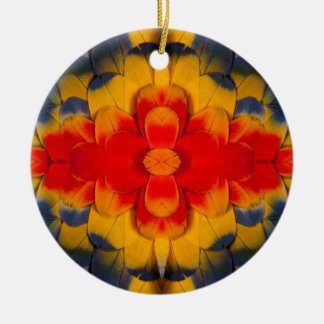 Kaleidoscope Scarlet Macaw feather Ceramic Ornament