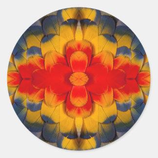 Kaleidoscope Scarlet Macaw feather Classic Round Sticker