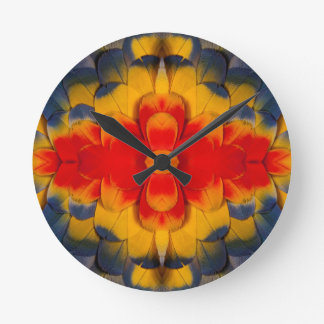 Kaleidoscope Scarlet Macaw feather Clocks