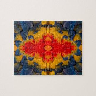 Kaleidoscope Scarlet Macaw feather Jigsaw Puzzle