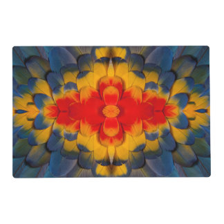 Kaleidoscope Scarlet Macaw feather Laminated Placemat