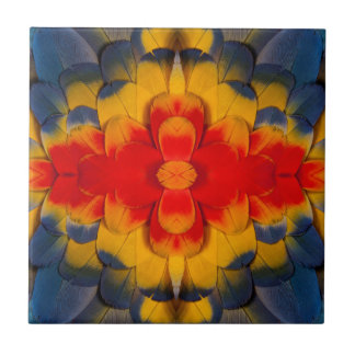 Kaleidoscope Scarlet Macaw feather Tile